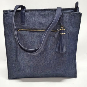 Talbots Denim-Like Leather Trim Tote Purse